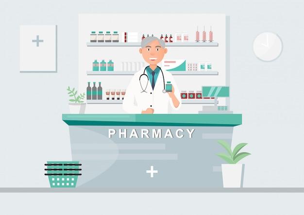 Farmácia com médico no balcão