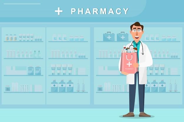 Farmácia com médico segurando um saco de medicamentos