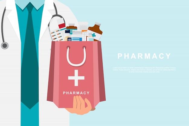 Farmácia com médico segurando uma mala de remédios