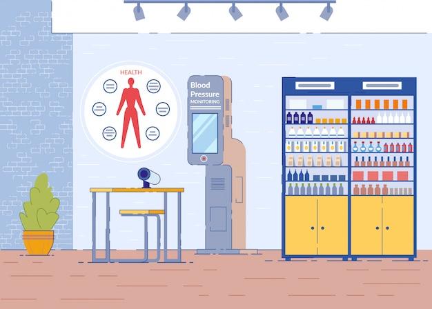 Farmácia com monitor de pressão arterial