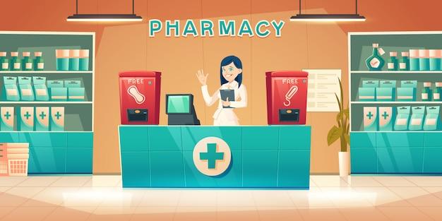 Farmácia com mulher farmacêutico na mesa do balcão