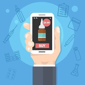 Farmácia comprar medicamentos on-line, serviço de saúde na internet. homem segurando o smartphone na mão. ilustração.