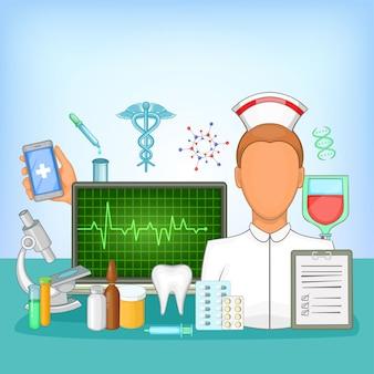 Farmácia de conceito de medicina, estilo cartoon