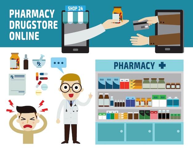 Farmácia drogaria infográfico ilustração vetorial