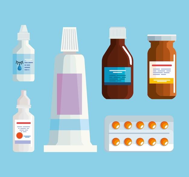 Farmácia medicina seis ícones