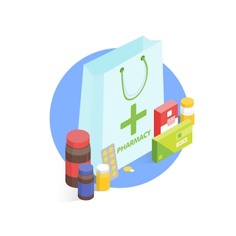 Farmácia moderna e drogaria. ilustração simples isométrica
