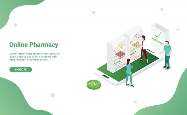 Farmácia on-line de farmácia com equipe médica e enfermeira para o modelo de site ou banner de desembarque