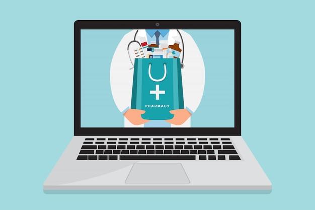 Farmácia on-line. médico com saco de remédio dentro laptop