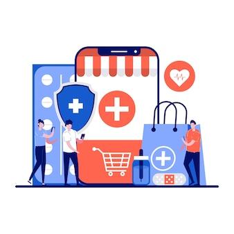 Farmácia online, conceito de loja de drogas de medicina empresarial com personagem minúsculo.
