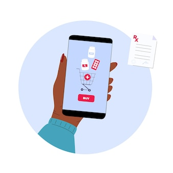 Farmácia online. mão está segurando o smartphone para comprar comprimidos. serviço móvel para compra de medicamentos.