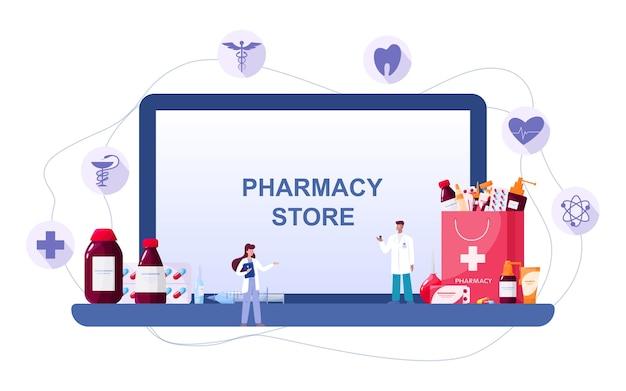Farmácia online na tela do dispositivo da web. medicina e saúde. banner da web de drogaria on-line ou ideia de interface do site. ilustração vetorial isolada