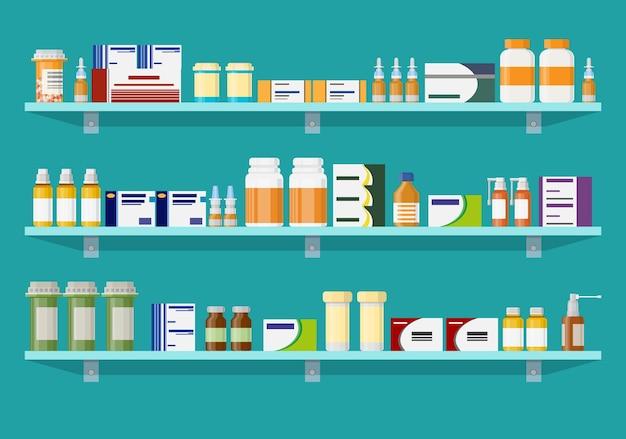Farmácia ou drogaria de interior moderna.