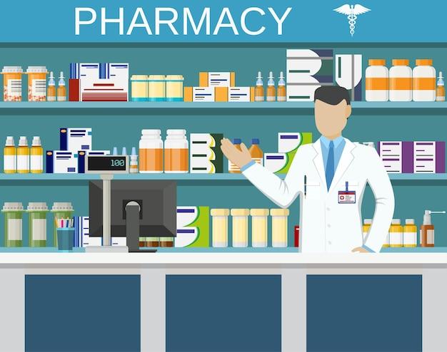 Farmácia ou drogaria moderna com farmacêutico masculino no balcão