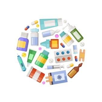 Farmácia ou medicamentos círculo conceito banner e cartaz