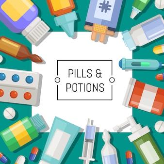Farmácia ou medicamentos com quadrado branco e lugar para ilustração de texto