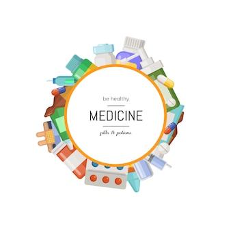 Farmácia ou medicamentos em torno do círculo com lugar para ilustração de texto