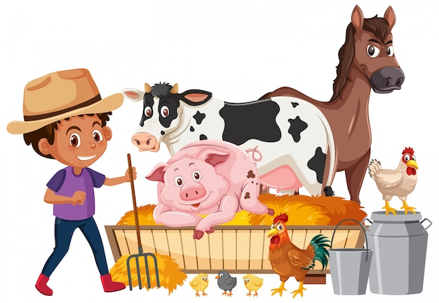 Farmboy e muitos animais em fundo branco