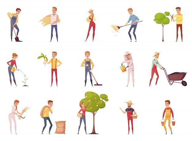 Farmer gardener cartoon personagens de pessoas