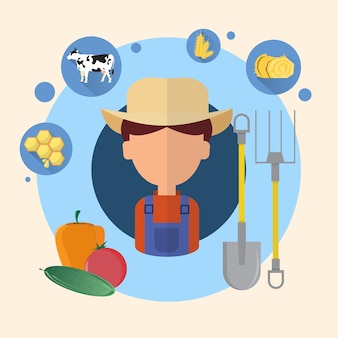 Farmer man agriculture icon