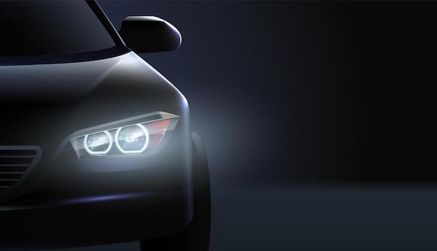 Faróis de carro realistas composição ad carro de status de alta classe no escuro