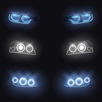 Faróis dianteiros ou traseiros modernos do carro com xénon