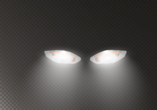 Faróis do carro. farol realista de lâmpada de automóvel.