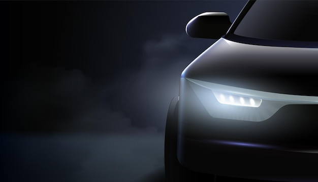 Faróis pretos de carros ad composição e o farol direito de um carro caro brilham com luzes frias no escuro