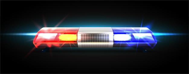 Faróis superiores de vetor realista de carro de polícia.