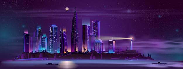 Farol, cidade, baía, costa, caricatura