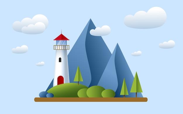 Farol com nuvens, montanhas, roks e árvores. farol no oceano para ilustração de navegação. paisagem da ilha.