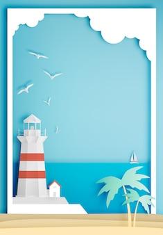 Farol, com, oceânicos, fundo, quadro, papel, arte, estilo