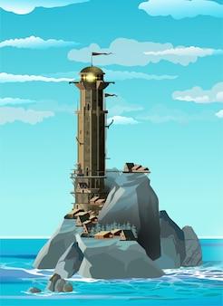 Farol de estilo fantasia em uma ilha rochosa azul e perto de uma pequena aldeia.