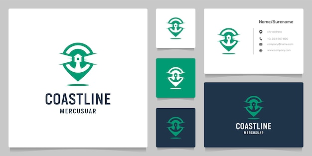 Farol do espaço negativo e design do logotipo do ponto do pino com cartão de visita