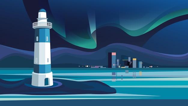 Farol e cidade à noite. paisagem urbana com aurora boreal.