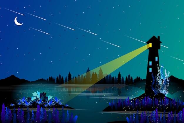 Farol e mar com paisagem de noite estrelada