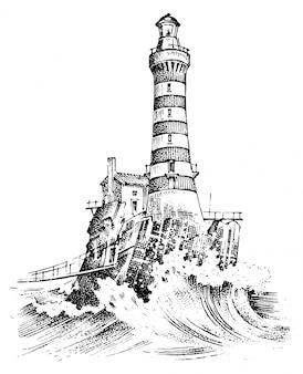 Farol e mar. desenho marinho, viagem náutica e vista do mar.