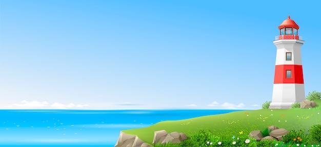 Farol em uma colina verde acima do mar
