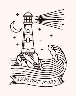 Farol explorar mais ilustração de linha