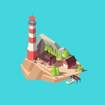 Farol isométrico ilha com torre e casa, árvores e barco no mar. ilustração em vetor torre farol 3d