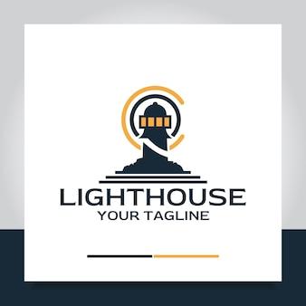 Farol logo design luz de navegação