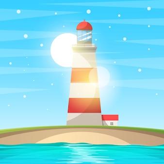 Farol, mar - paisagem de desenho animado.