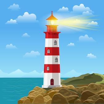 Farol na ilustração do oceano ou da praia do mar.