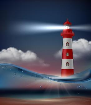 Farol no oceano. paisagem marinha noturna com farol para fundo realista de vetor de navegação de navio. viagem pelo mar do farol, ilustração da paisagem Vetor Premium