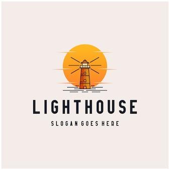 Farol pôr do sol logotipo design icon ilustração