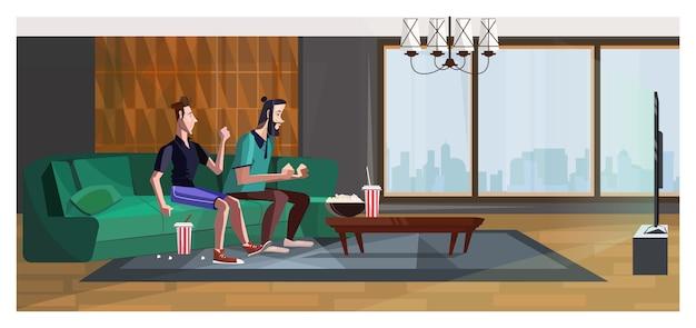 Fãs de esporte torcendo por time favorito em casa ilustração