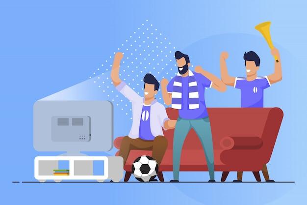 Fãs de esportes de panfleto de publicidade em casa cartoon flat