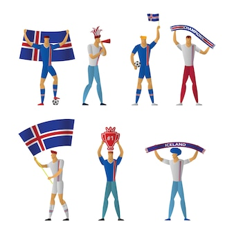 Fãs de futebol da islândia futebol alegre