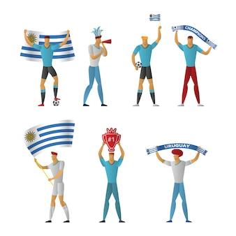 Fãs de futebol do uruguai futebol alegre