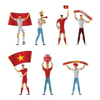Fãs de futebol do vietnã futebol alegre