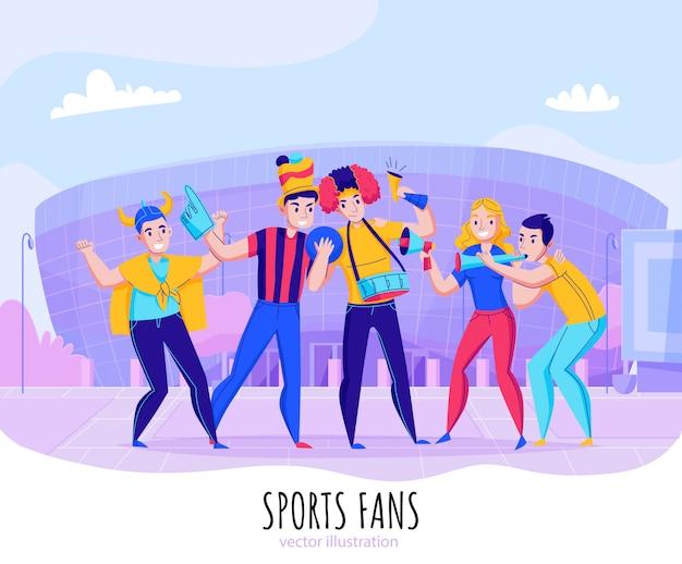 Fãs torcendo composição de equipe com grupo de pessoas posar na ilustração de fundo do estádio